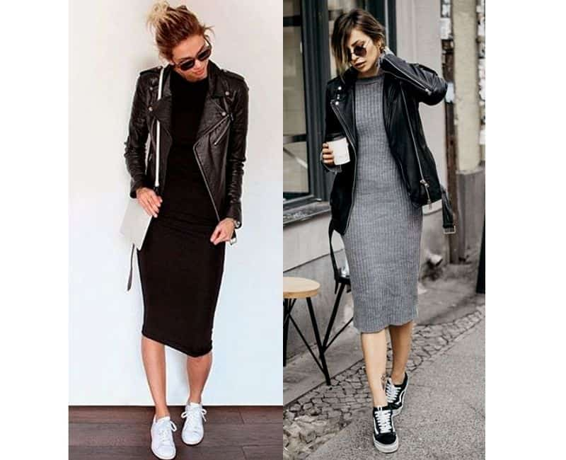 how to wear a sweater dress with sneakers casually