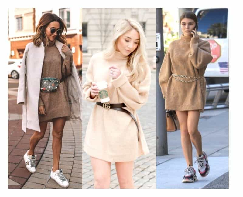 how to wear a sweater dress with sneakers