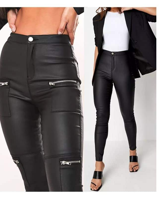 Black coated jeans outfit ideas