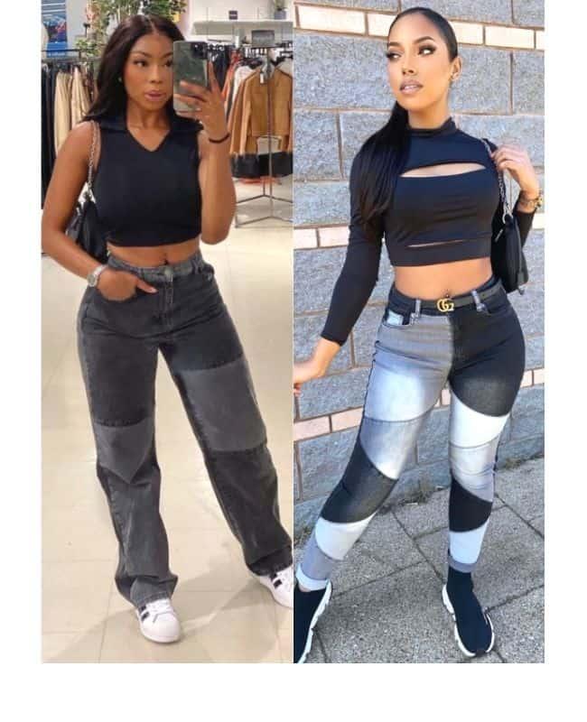 Black patchwork jeans outfit ideas