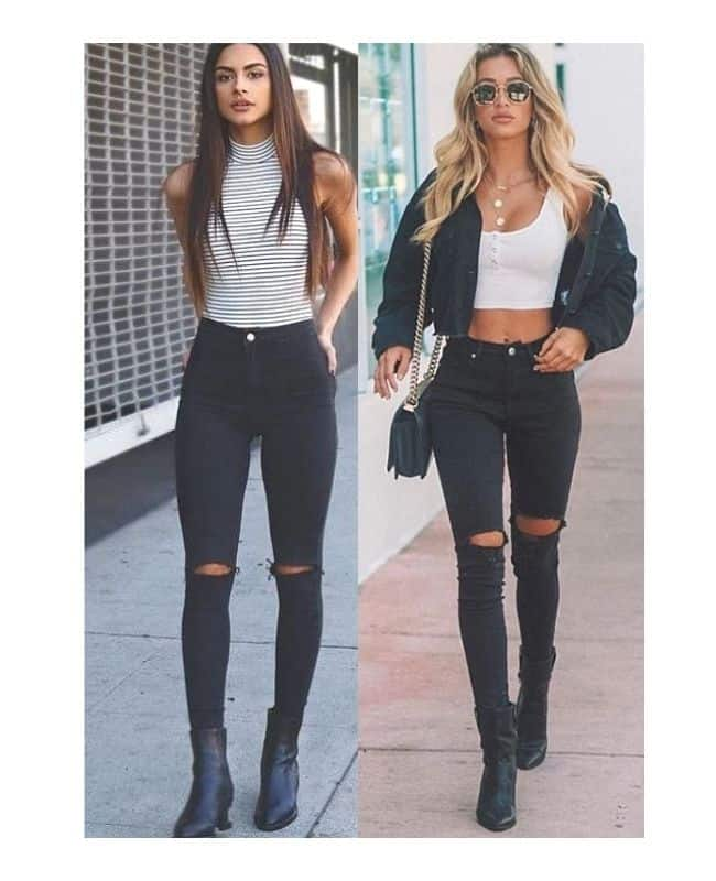 Black ripped jeans outfit ideas