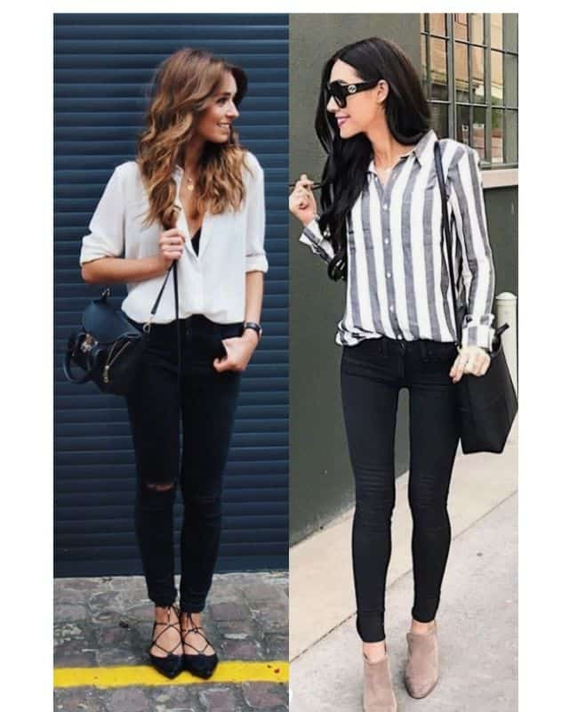 Classy black jeans and top outfit ideas