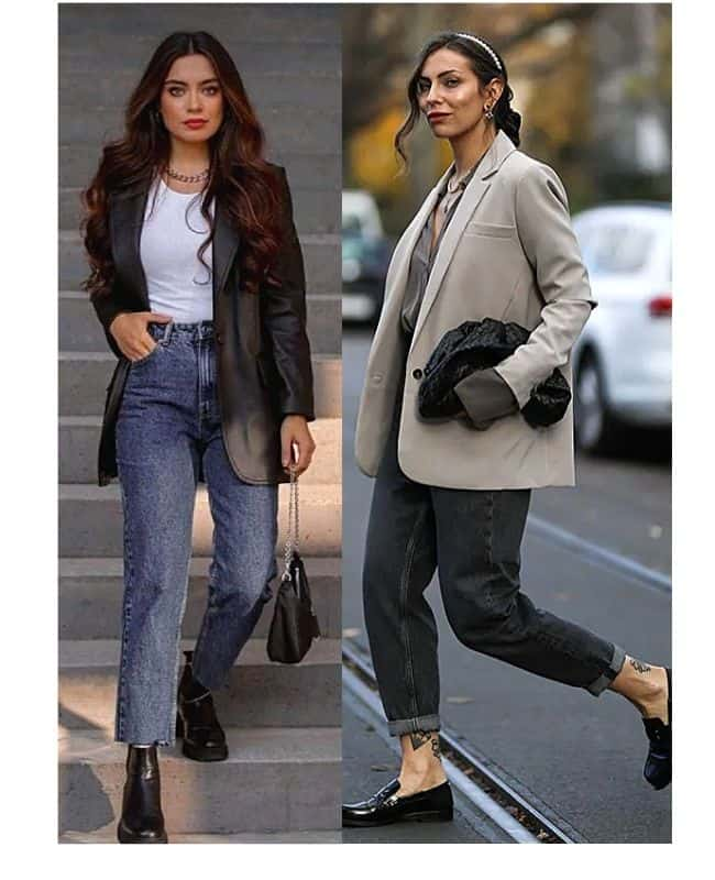 Black mom jeans outfit ideas with blazer