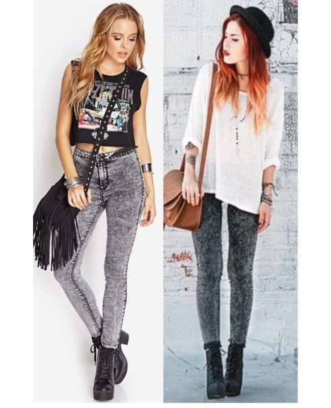 Black acid wash jeans outfit ideas