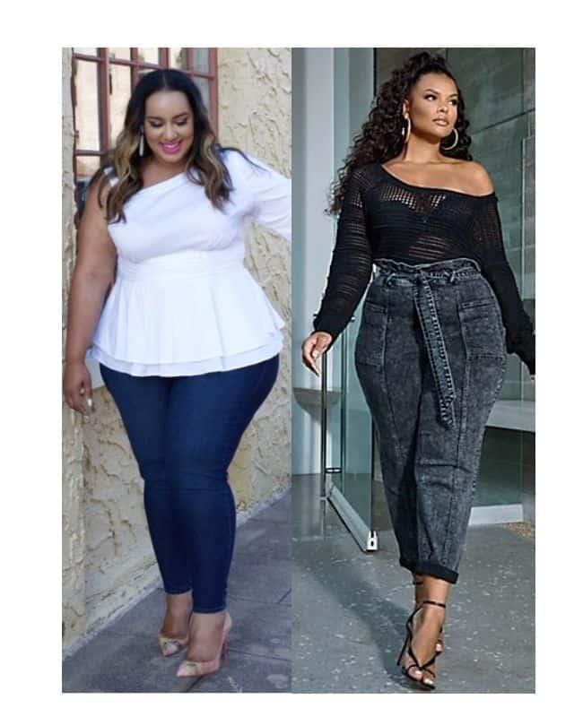 Black jeans outfit ideas for plus size